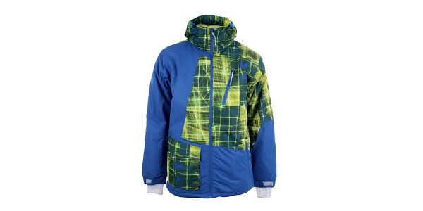 Pánská modrá lyžařská bunda s barevným potiskem Authority
