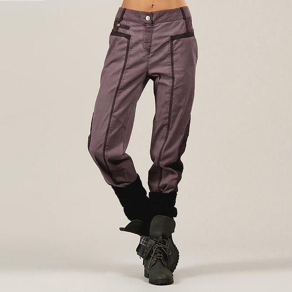 Dámské fialové kalhoty s výšivkou Angels Never Die