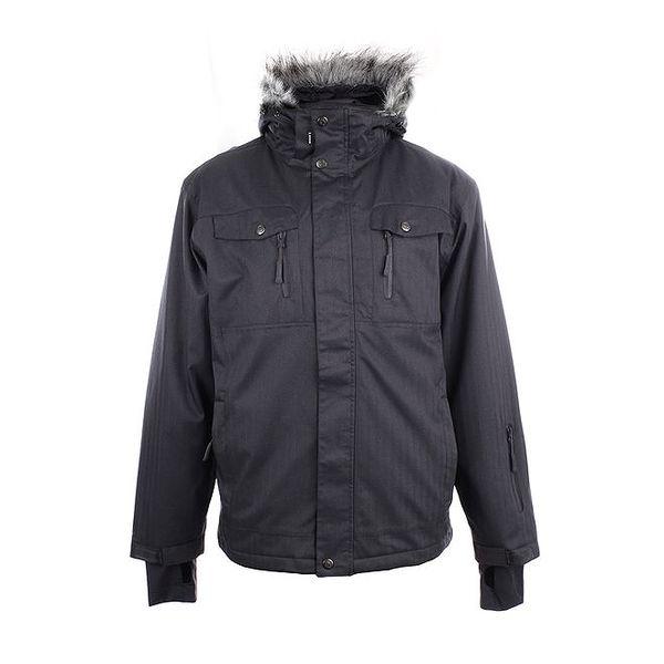 Pánská šedá zimní bunda s kožíškem Authority
