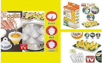 Forma na vaření vajíček! Již žádné skořápky po vajíčkách, jen dokonalý tvar i po uvaření díky revolučním nádobkám na vaření vajíček Eggies. Vyzkoušejte produkt známý z TV.