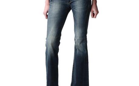 Dámské modré zvonové džíny s šisováním Replay
