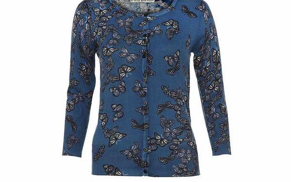 Dámský modrý kardigan s potiskem motýlků Uttam Boutique
