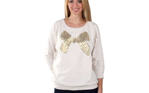 Dámský béžový svetr s flitrovou mašlí Fresh Made