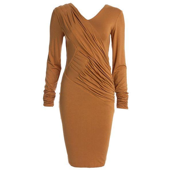 Dámské karamelové šaty s dlouhým rukávem CeMe London
