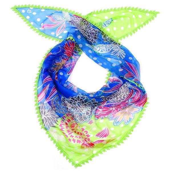 Dámský barevný šátek se zeleným lemem Fraas