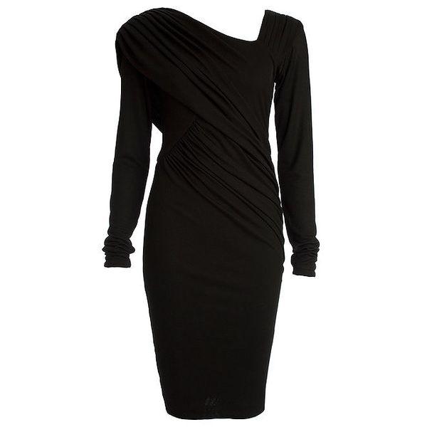 Dámské černé nařasené šaty s dlouhým rukávem CeMe London