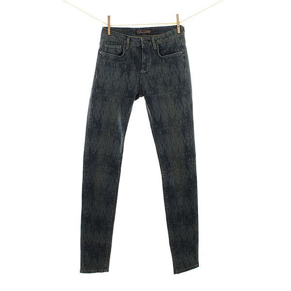 Dámské tmavé džíny se vzorem Fuga