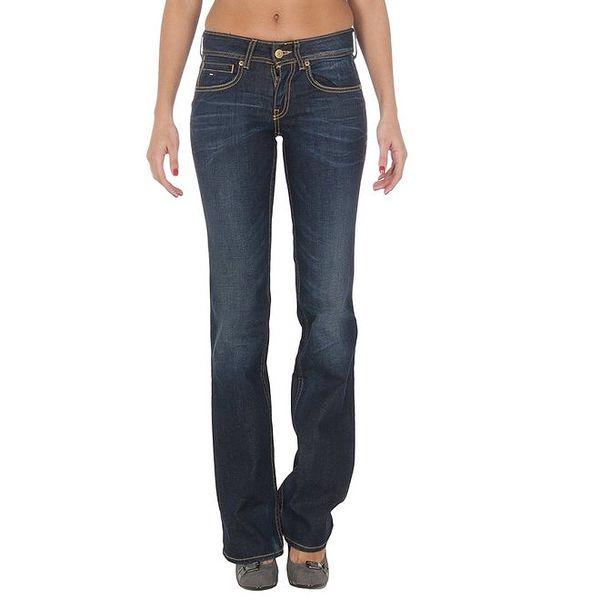 Dámské tmavě modré džíny se žlutým prošíváním Tommy Hilfiger