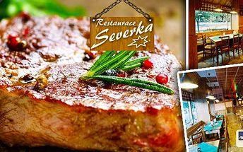 Šťavnaté křehké steaky dle výběru pro 2 osoby v restauraci Severka v Pardubicích! Vyberte si steak kuřecí či vepřový doplněný lahodnými dresingy dle výběru a čerstvým chlebem. Neváhejte a přijďte potěšit své chuťové buňky!