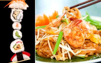 ASIJSKÁ kuchyně! Thajské speciality, oblíbené SUSHI, čínské speciality, masové plotýnky a NOVÉ SUSHI SETY! Skvělá asijská jídla v centru Prahy v pasáži Světozor přímo u stanice metra Můstek! Sleva na celý jídelní lístek!