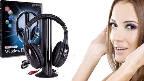 Bezdrátová sluchátka 5 v 1 - vysoce kvalitní sluchátka pro poslech nejen hudby, ale i filmů, her, DVD atd.... 5 funkcní v jednom za bezkonkurenční cenu! Vhodné i jako dárek!
