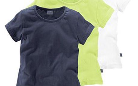 Tričko 3 ks, modrá, zelená, bílá