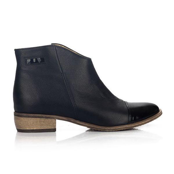 Dámské černé boty s lesklou špičkou Joana and Paola
