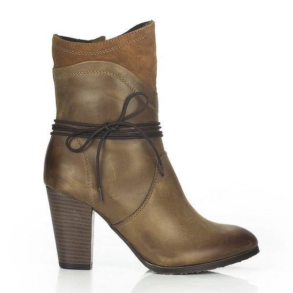 Dámské hnědé kožené boty s okrasnou tkaničkou Joana and Paola