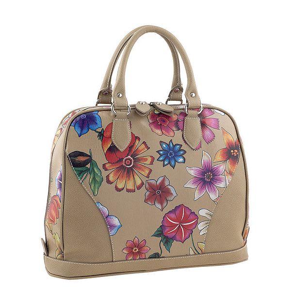 Dámská kožená kabelka s květinovým potiskem Valentina Italy
