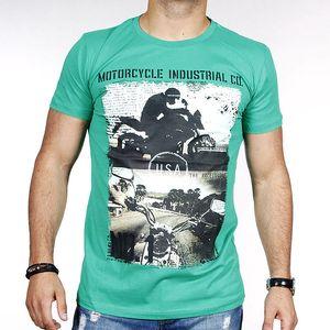 Pánské zelené tričko s potiskem motorky Pontto