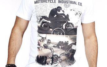 Pánské bílé tričko s potiskem motorky Pontto