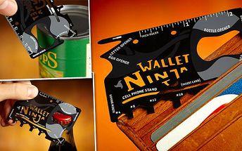 Multifunkční karta Wallet Ninja s nářadím 18v1