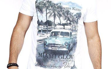 Pánské bílé tričko s barevným potiskem Pontto