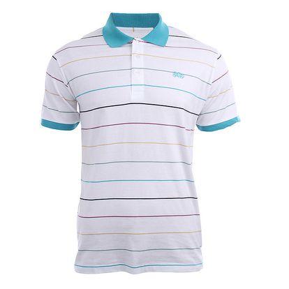 Pánské bílé tričko s barevnými proužky Authority