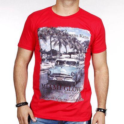 Pánské červené tričko s barevným potiskem Pontto