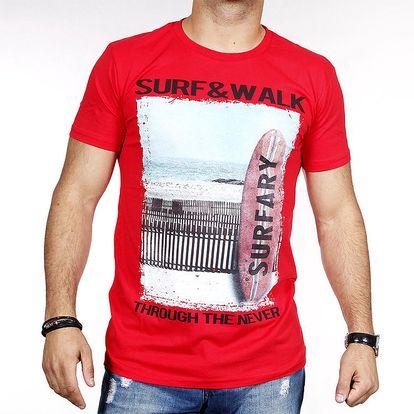 Pánské červené tričko se surfem Pontto