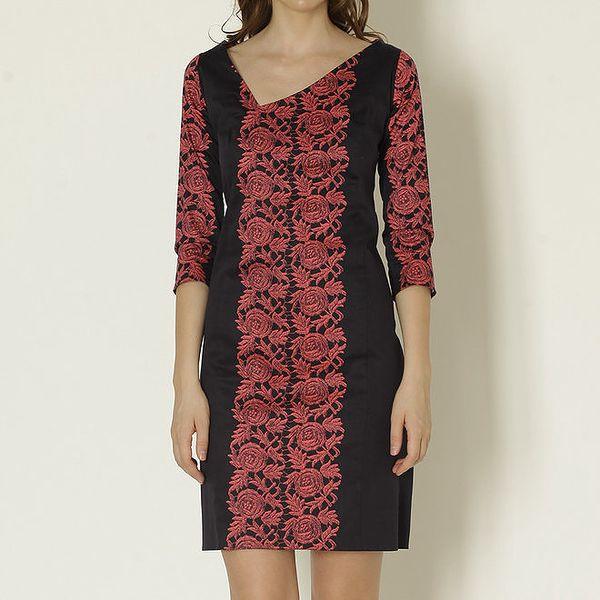 Dámské černé šaty s asymetrickým výstřihem a květinami Keren Taylor