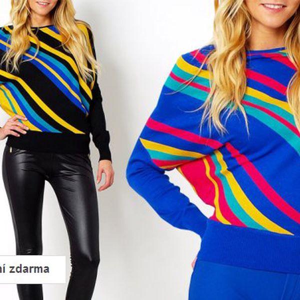Barevný dámský svetr s netopýřími rukávy