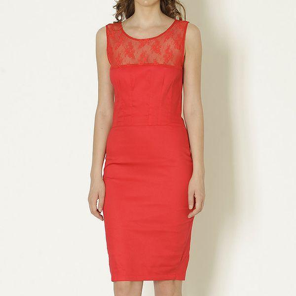 Dámské červené šaty s krajkovým výstřihem Keren Taylor