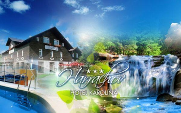 Příjemný Hotel Karolína*** v HARRACHOVĚ! 6 DNÍ s POLOPENZÍ a neomezeným vstupem do WELLNESS za 1790 Kč/os.! Navštivte Mumlavské vodopády, vyšplhejte se na vrchol Čertovy hory, nebo si vychutnejte výhled z kamenné rozhledny!