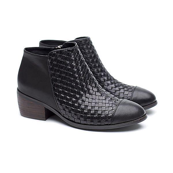 Dámské černé kožené proplétané boty Shoe the Bear