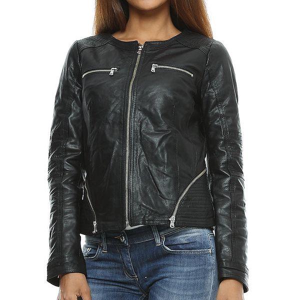 Dámská černá kožená bunda s prošíváním Mangotti