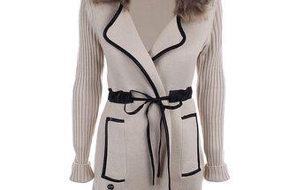 Dámský béžový svetrový kabátek s kožíškem Preziosa