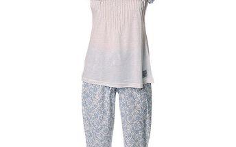 Dámský modro-bílý pyžamový set s potiskem Vive Maria