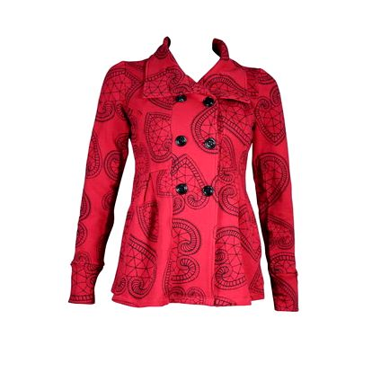 Dámský krátký červený kabátek Smash s černými ornamenty