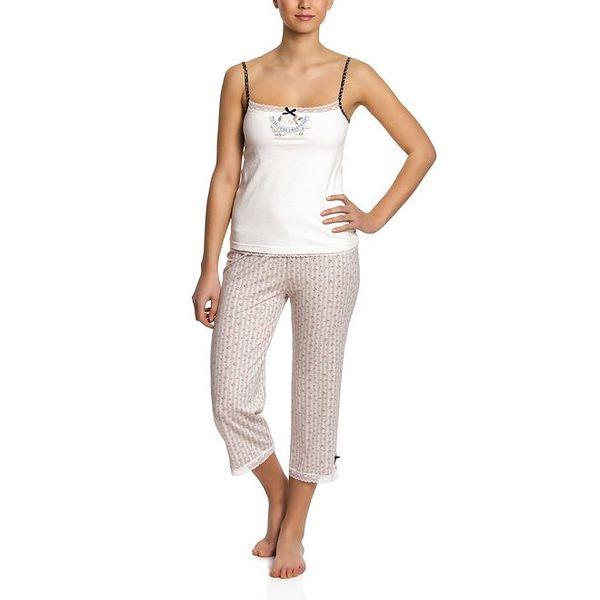 Dámské světlé pyžamo se vzorovanými 3/4 kalhotami Vive Maria