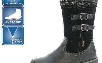 Dívčí šedo-černé boty s přezkami Beppi