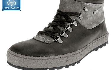 Pánské šedé kožené kotníčkové boty Beppi