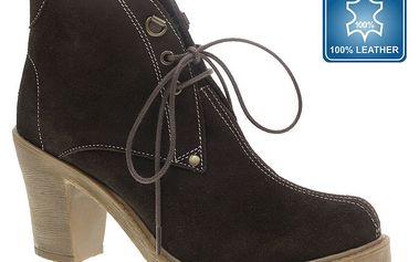 Dámské tmavě hnědé kotníkové boty s tkaničkami Beppi