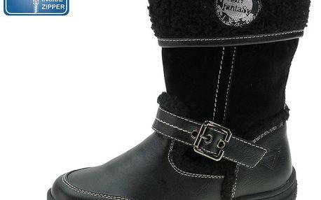 Dívčí černé boty s kožíškem a kontrastním prošíváním Beppi