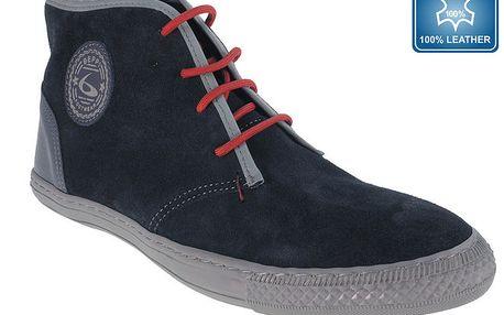 Pánské tmavě modré boty s červenými tkaničkami Beppi