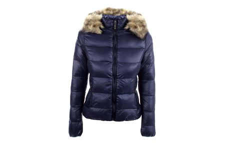 Dámská tmavě modrá prošívaná bunda s kapucí B.style