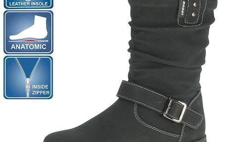 Dívčí černé boty se sponou Beppi
