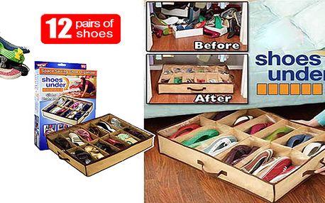 Máte předsíň plnou bot, které nepoužíváte? Nemáte kam uložit sezoní obuv? Máme pro vás řešení za pár korun. Pořadač bot Shoes Under na 12 páru bot s 80% slevou!!!
