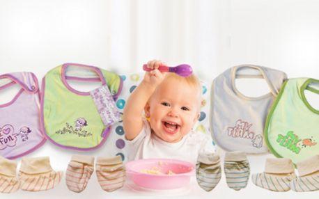 MAMINKY DOPLŇTE VÝBAVIČKU SVÉHO MIMINKA! Baby komplet pro chlapečky nebo holčičky jen za úžasných 99 Kč! Komplet obsahuje rukavičky, capáčky a nepostradatelný bryndák! Veškeré doplňky jsou vyrobené ze 100% bavlny!