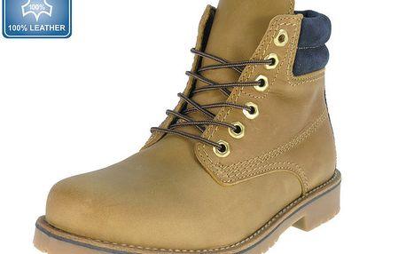 Pánské béžové kožené kotníkové boty s námořnickým prvkem Beppi