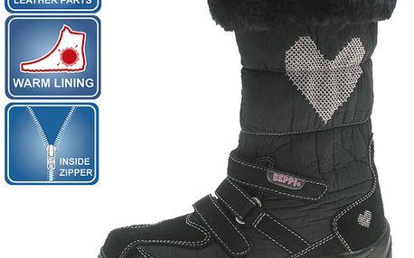 Dívčí černé zimní boty Beppi