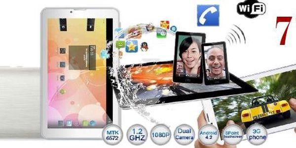 7palcový tablet 3G s GPS a telefonem v jednom. Tablet podporuje internetové připojení, telefonní hovory (na 2 SIM), GPS, Bluetooth, WCDMA 3G, FM rádio.