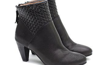 Dámské černé kožené boty na podpatku s proplétáním Shoe the Bear