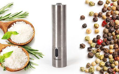 Nerezový elektronický mlýnek Tristar na sůl nebo pepř
